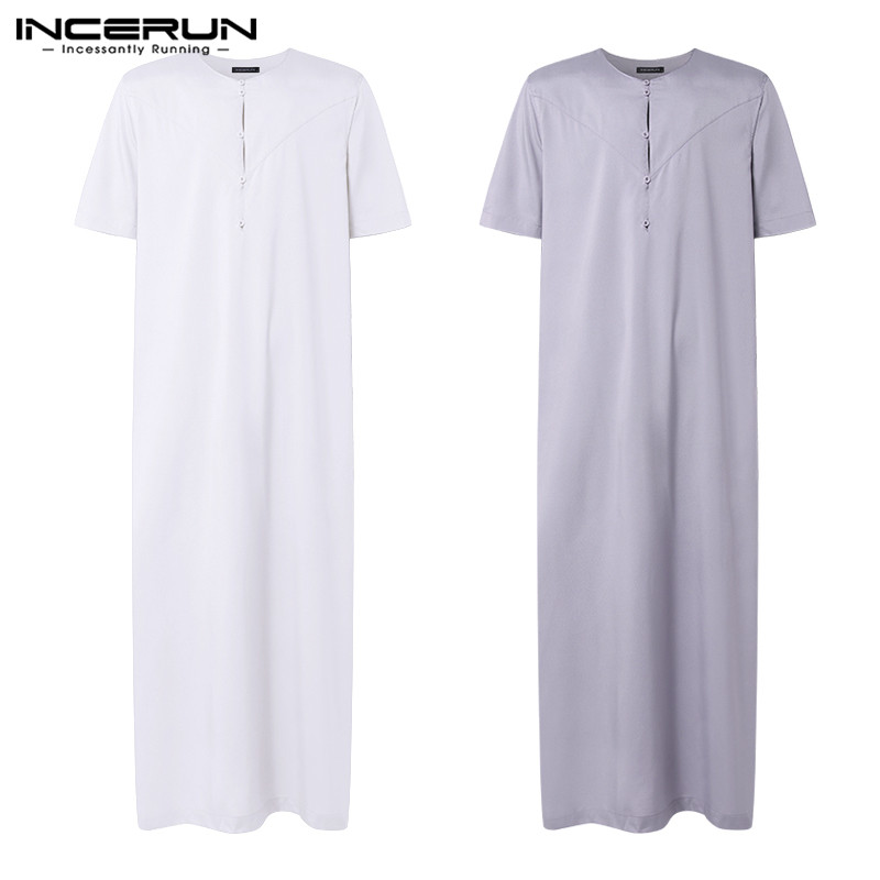 2019 Brand Pajama Dress Muslim Mens Robe Kaftan Dress Man Islamic Ropa Arabe Hombre Bathrobe Lounge Women Gown Arab Clothing