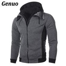 Winter Men Hooded Jacket Patchwork Slim Hoody Coat Male Zipper Jackets Auutmn Casual Windbreaker Outwear Clothes Genuo Tops