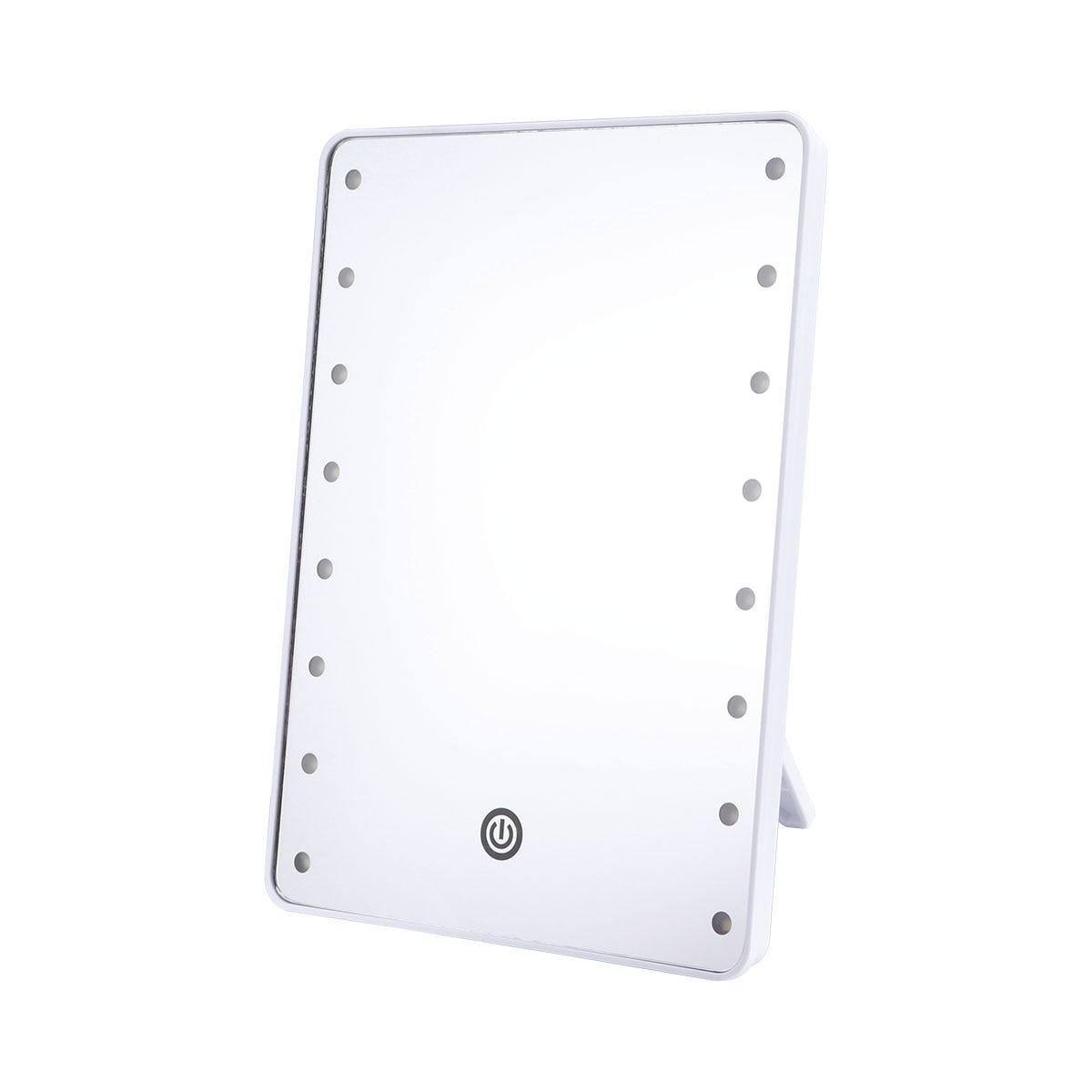 Косметическое зеркало с 16 светодиодами, косметическое зеркало с сенсорным диммером, управляемое батареей, косметическое зеркало для настольной ванной комнаты Зеркала для ванной      АлиЭкспресс
