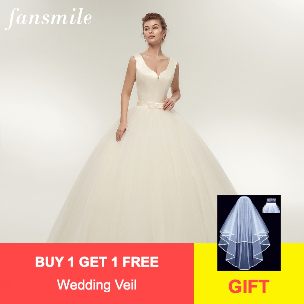 Fansmile New Arrival V Neck Satin Ball Wedding Dresses 2020 Plus Size Customized Bridal Gowns Vestido De Casamento FSM-340F