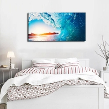 Blue Sea Waves Sunset Ocean Summer Nature Picture Artwork Canvas Print Vacation Wall Art for Home Decor Drop shipping