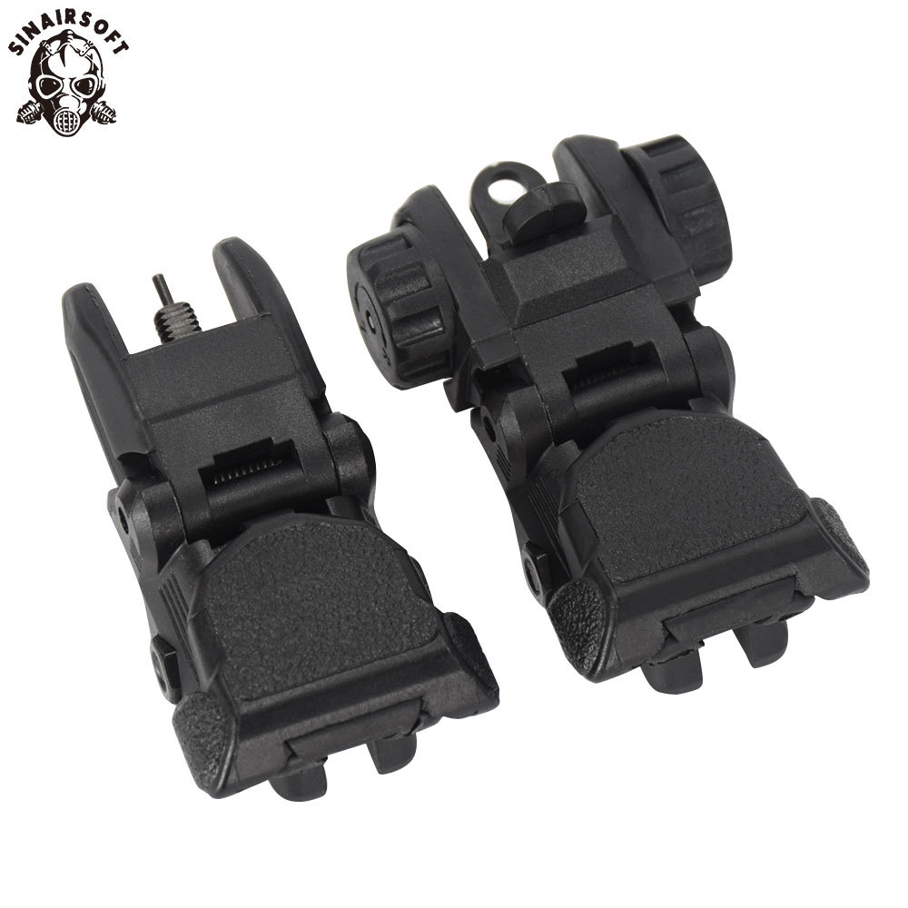 Tactical Folding Flip Up Sight Rear Front Sight Mount Transition Backup Iron Sight Rapid Rifle For Paintball Accessories