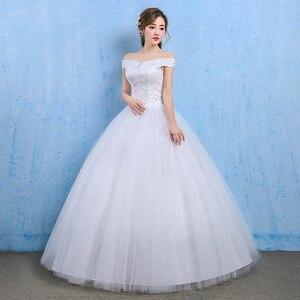 Image 5 - ราคาถูกงานแต่งงาน 2020 Ball Gown ปิดไหล่ลูกไม้กลับ Appliques ลูกไม้เจ้าหญิงชุดเจ้าสาว Vestidos De เจ้าสาว