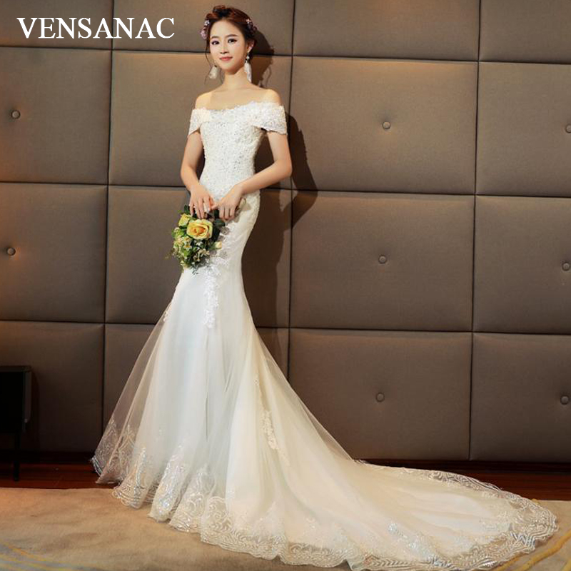 VENSANAC Elegant Boat Neck Lace Mermaid Wedding Dresses Sequined Off The Shoulder Court Train Backless Bridal Gowns