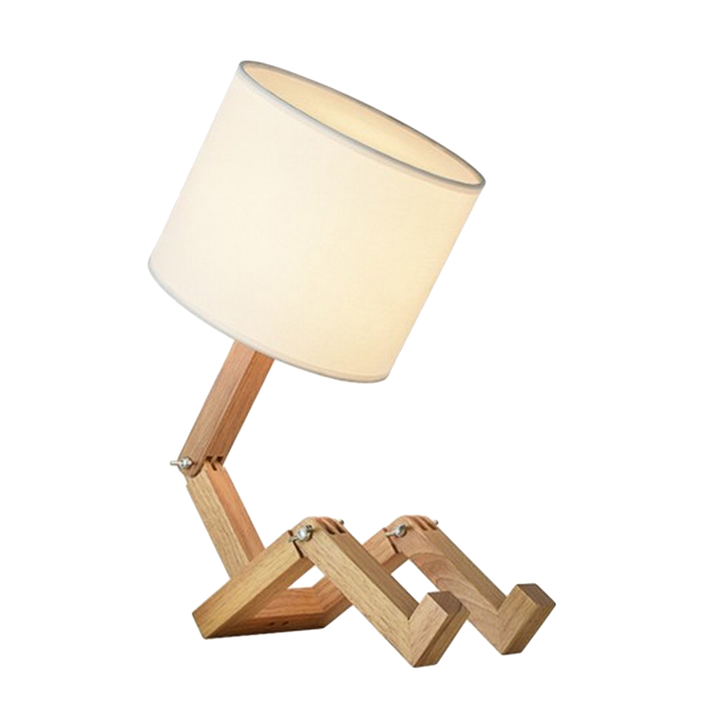Wooden Table Lamp Adjustable Creative Robot Shape Nightstand Lamp Fabric Lampshade For Bedroom Office Kids With EU PlugWooden Table Lamp Adjustable Creative Robot Shape Nightstand Lamp Fabric Lampshade For Bedroom Office Kids With EU Plug