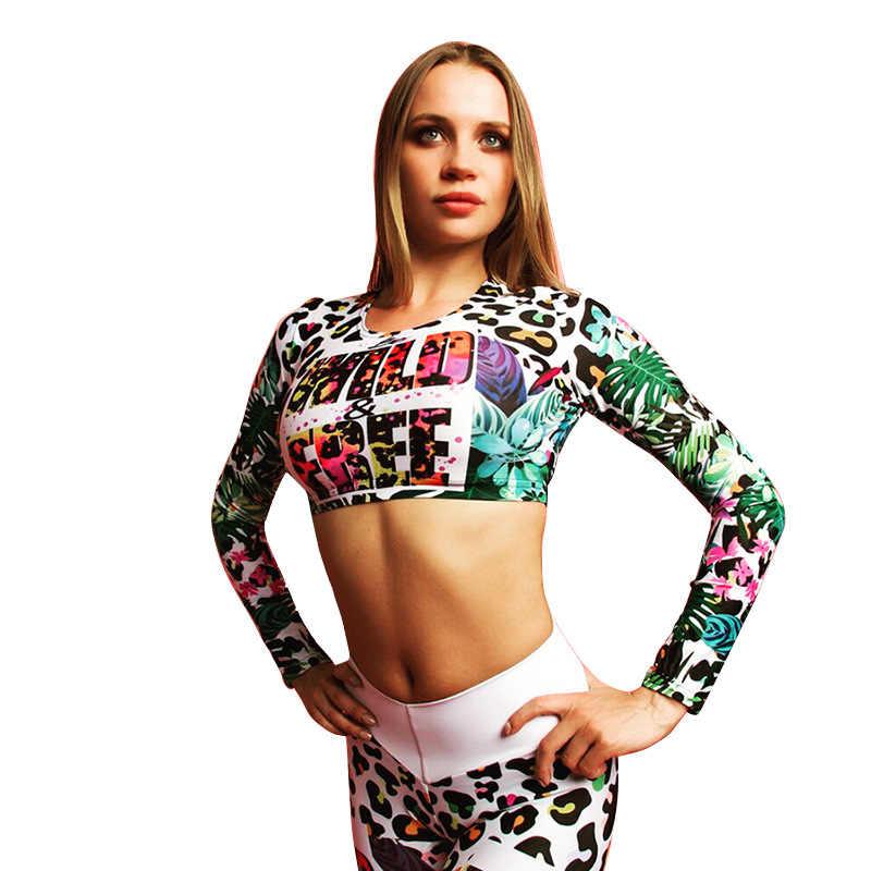 Kobieta drukuj zestaw do jogi Fitness kobiety sport dres biegowy stroje gimnastyczne legginsy koszulki zimowe do ćwiczeń, elastyczne zestawy do jogi Quick Dry