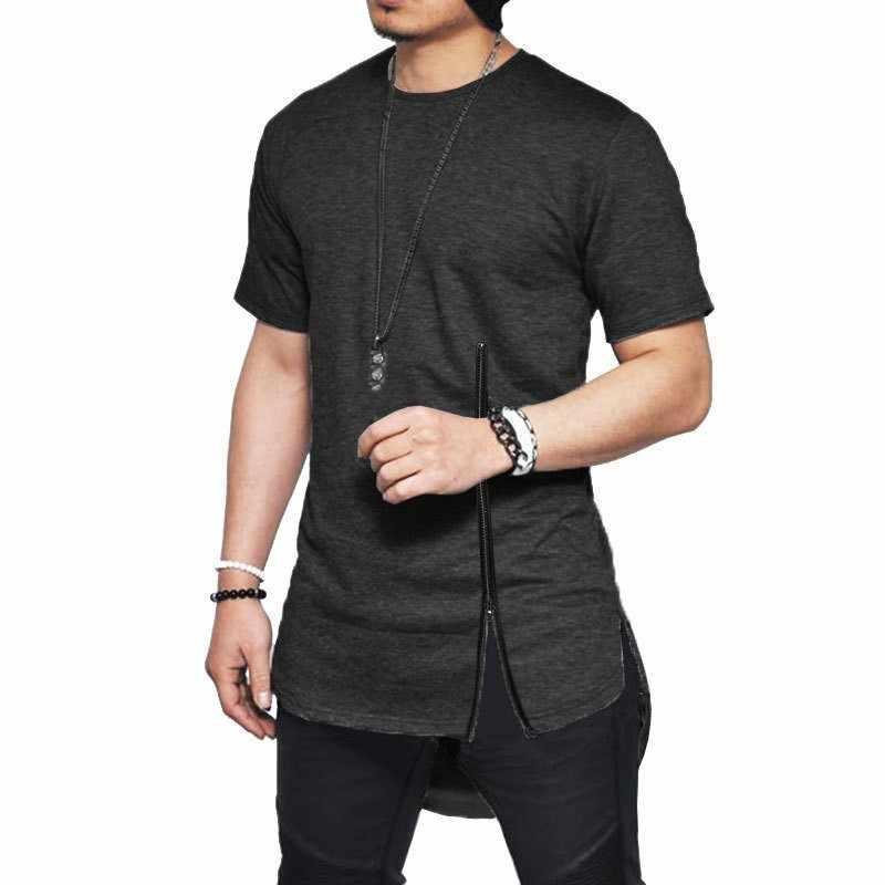 Moomphya 2019 Новая мужская футболка на молнии с короткими рукавами уличная футболка с разрезом сбоку для мужчин длинная кривая подол хип хоп забавная футболка