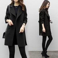 Женская двубортная тонкая ветровка длинная куртка, пальто Верхняя одежда