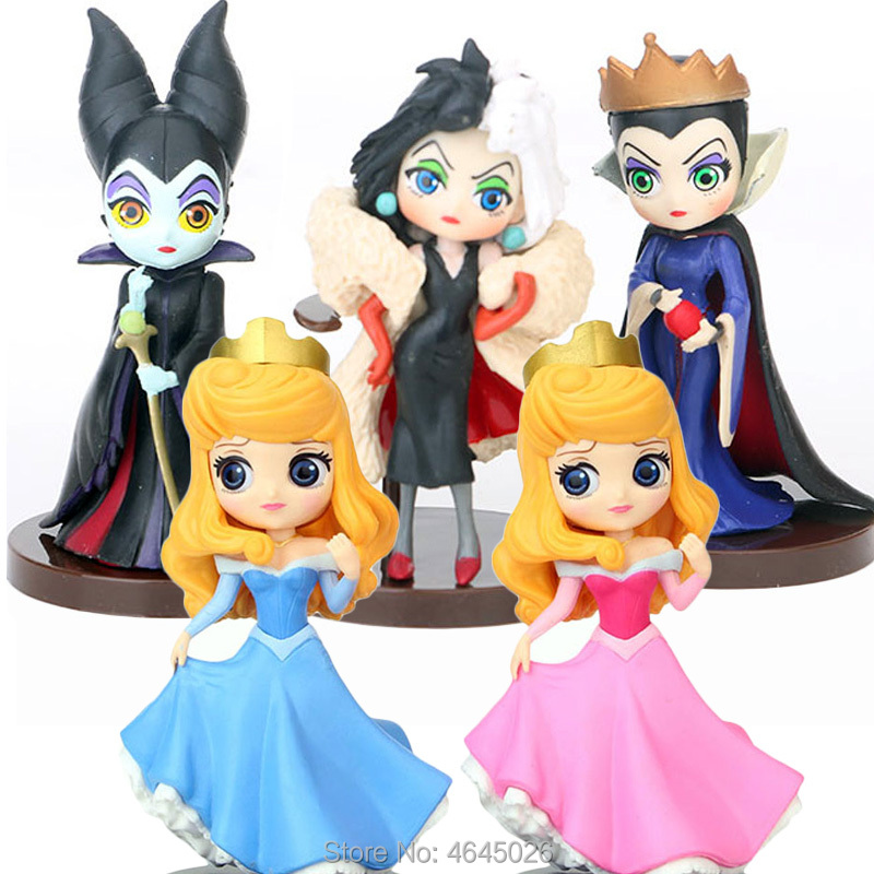 Q Posket Maleficent Evil Queen 101 Dalmatians Cruella De Vil PVC Figures Princess Aurora Collectible Figurines Dolls Kids Toys