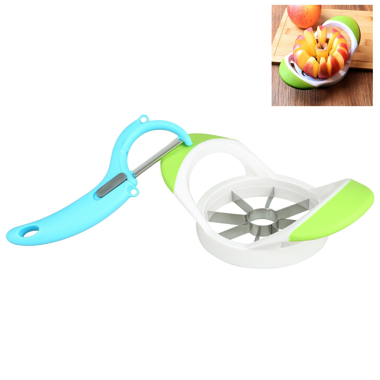 NEW-Apple and Pear Corer Stainless Steel Blades Divider Slicer and PeelerNEW-Apple and Pear Corer Stainless Steel Blades Divider Slicer and Peeler