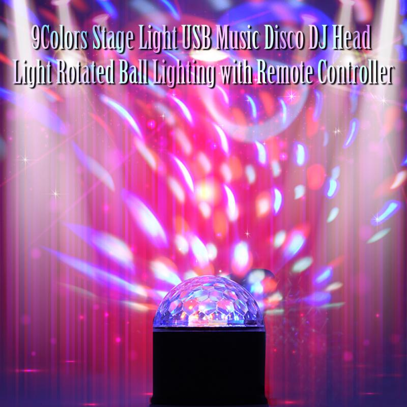 9 Colors Stage Light USB Music Disco DJ Head Light Rotated Moving Head Ball Lighting Home Party Lights with Remote Controller in Stage Lighting Effect from Lights Lighting