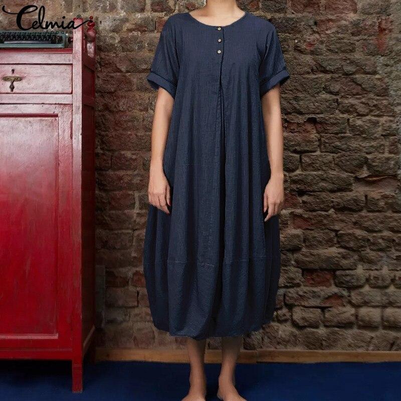 f66804d81462 Celmia 2019 Women Cotton Linen Midi Dress Vintage Linen Vestidos Femme  Short Sleeve Buttons Solid Baggy Summer Dresses Plus Size