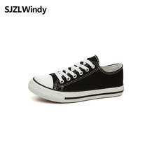 Women's Vulcanize Shoes summer Non-slip black Classic Couple models Casual Low-cut Lace-up Fashion flat canvas shoes недорого