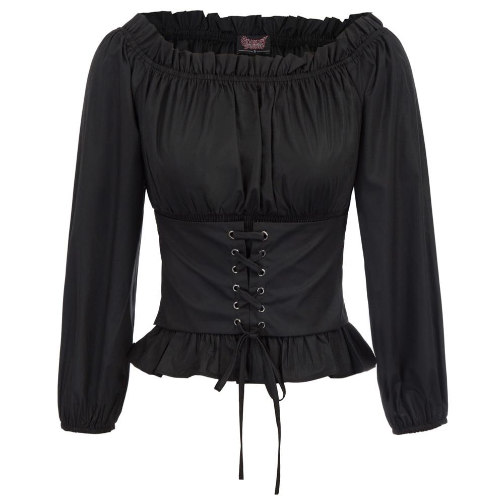 Vintage Shirt Women Gothic Blouse Ladies Renaissance Solid Color Elegant Steampunk Slim Off Shoulder Corset Shirt Blusa Gotica
