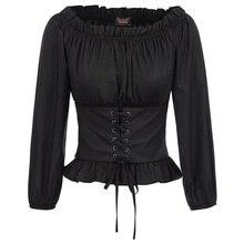 Vintage shirt Women Gothic blouse ladies Renaissance solid color elegant steampunk slim Off Shoulder corset blusa gotica
