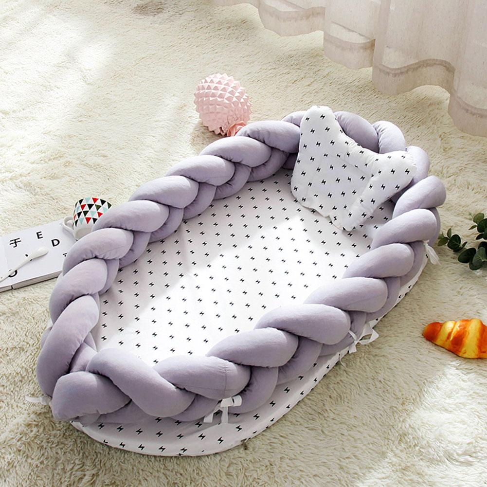 Folding Cotton Weaving Removable Sleeping Bed for Baby Infants Baby Nest Bed Crib Portable Infant Kids