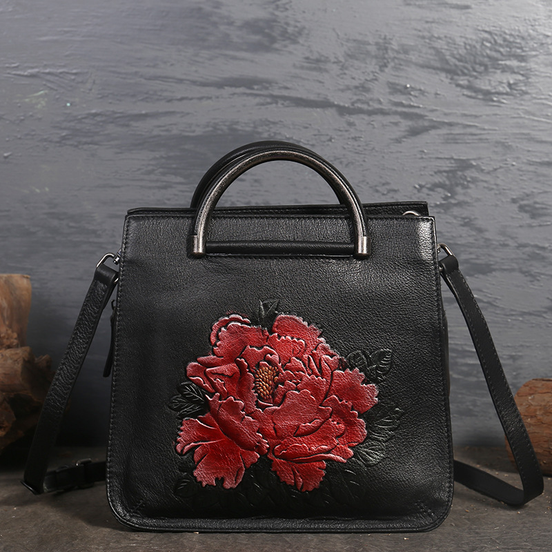 High Quality Genuine Leather Women Bags Cross Body Peony Pattern Handbag Embossed Tote Chinese Style Messenger Shoulder Bag