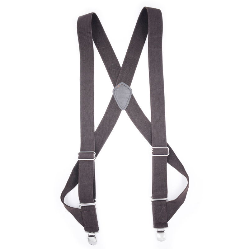 2019 New European And American New Men's Outdoor Work Harness Adult Monochrome Casual Pants Suspenders With 2 Clips Adjustable