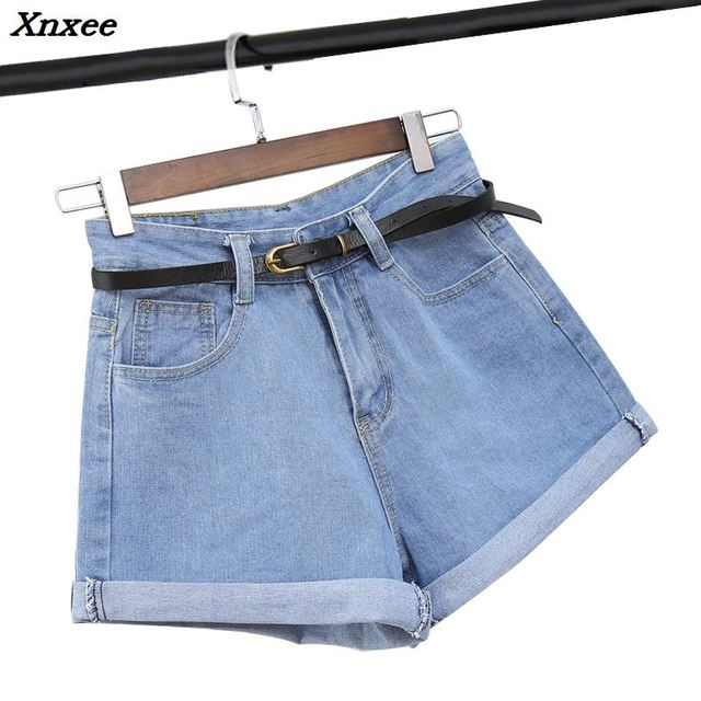 Summer casual women cotton shorts jeans mid waist denim shorts with pockets and belt loose broad leg shorts plus size Xnxee