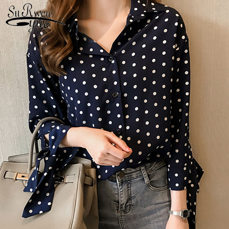 Fashion women tops and   blouse   2019 chiffon   blouse     shirt   long sleeve dot women's clothes Square collar blusas ladies tops 1533 45