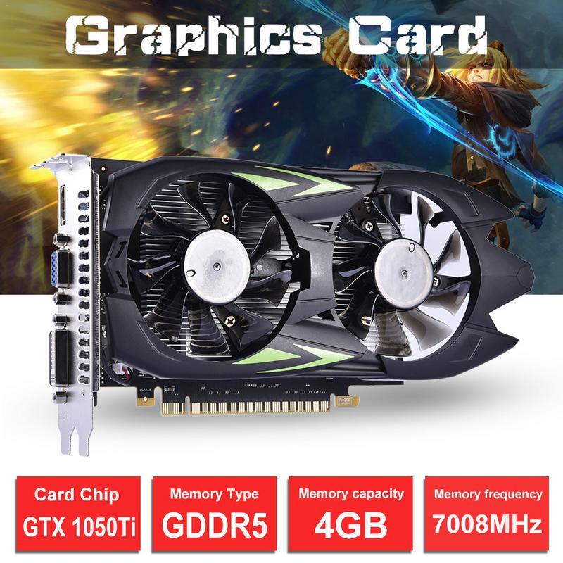 GTX1050TI-4G 128Bit de ampliación PCI-e Puerto GDDR5 doble ventilador de enfriamiento del ordenador juego independiente gráficos tarjeta de Video TARJETA DE Plugin