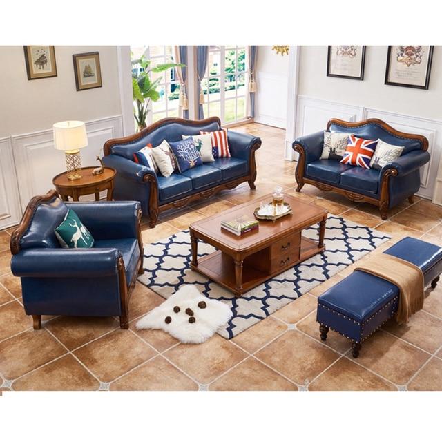 American Country sofa set living room furniture Wood Antique divano ...