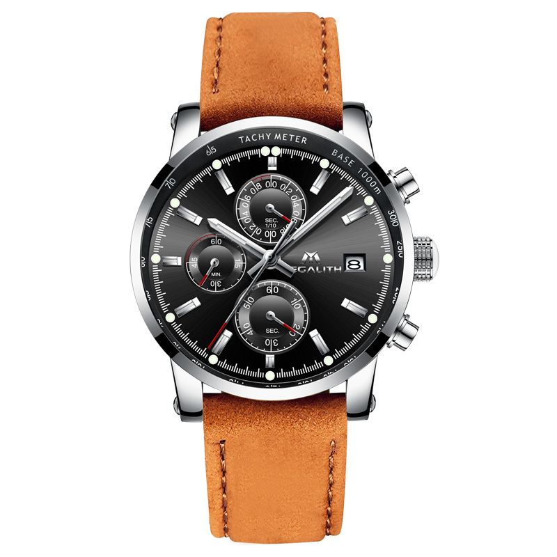 MEGALITH Mens Watches Business Casual Sport Waterproof Chronograph Wrist Watch Brown Genuine Leather Quartz Clock Reloj HombreMEGALITH Mens Watches Business Casual Sport Waterproof Chronograph Wrist Watch Brown Genuine Leather Quartz Clock Reloj Hombre