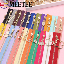 2PCS Meetee 3# Close-end Metal Zipper Pearl Flower Slider Multi-color 35cm 40cm 50cm for Tailor Sewing Zip Bag Garment Craft