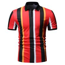Casual Polo collar Short sleeve Shirt for Men Camisa masculina Summer Tops Stripes Tees Blouse New