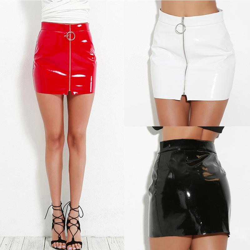 Women's Fashionable Pencil Skirt Ring Zipper Skirts High Quality Bright Leather PU Slim Bodycon Skirt For Summer And Spring
