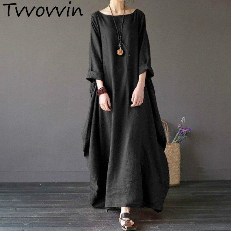 36c6b058ab Johnature 2019 New Casual Dress Plus Size Women Clothes O Neck ...
