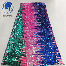 Beautifical sequins net laces fabrics african dress high quality french shiny lace for party 5yards/lot ML1N747