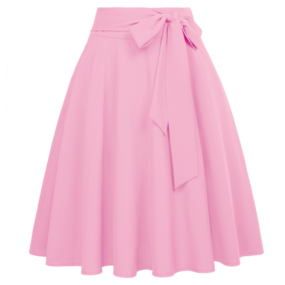 70e651cda BP faldas de moda para mujer vintage de Color sólido de cintura alta gran  swing rodilla longitud ...