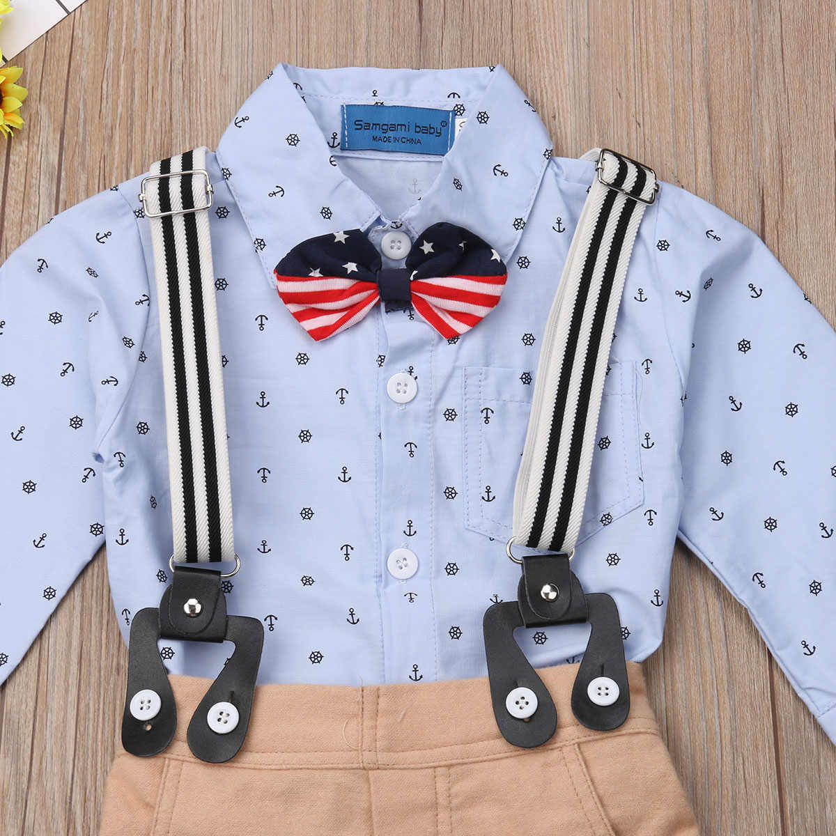 8392098a0 ... Kid Boy Bodysuit Bow Tie Long Sleeve Bib Long Pants 2pcs Wedding Formal  Outfit Baby Kid ...