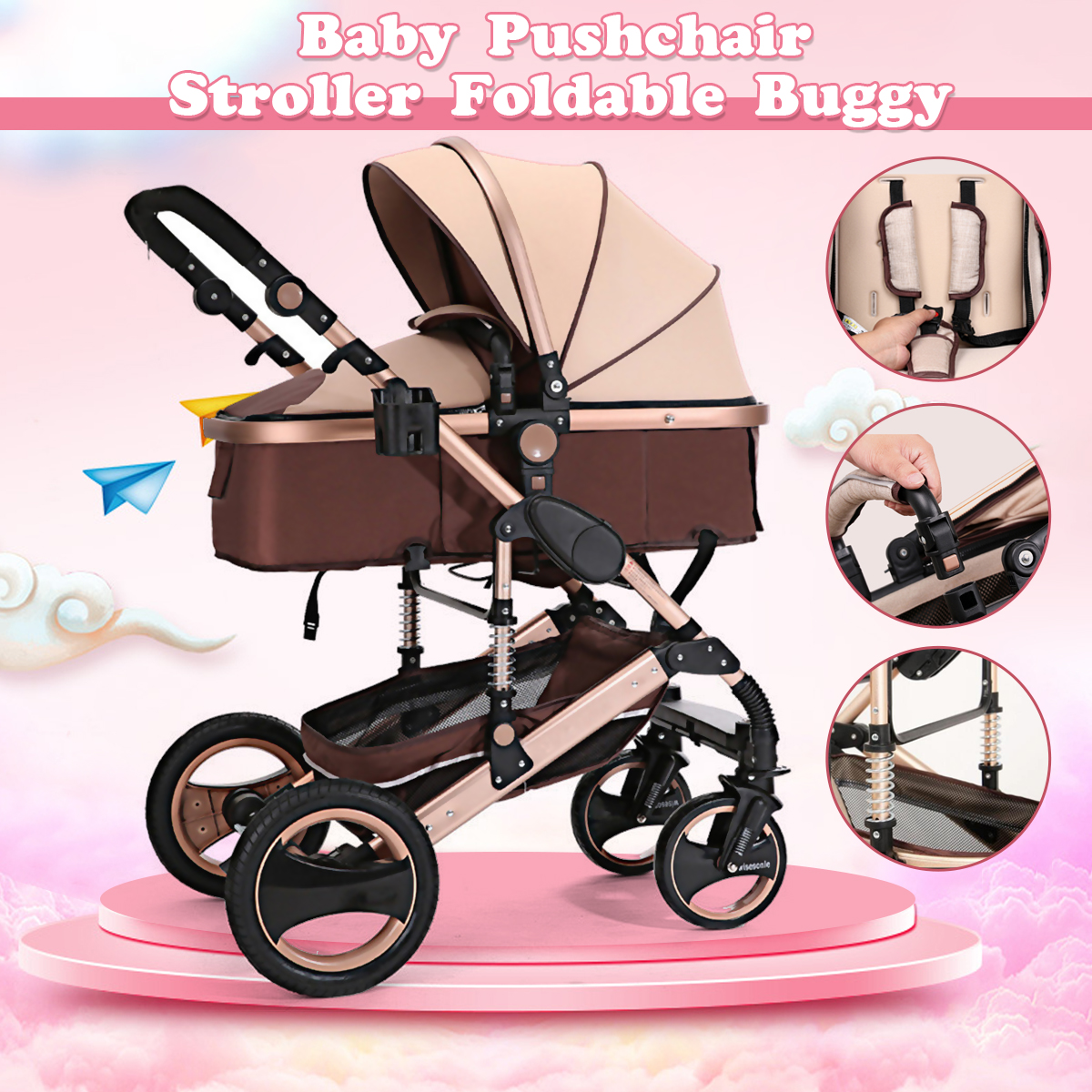 8 in 1 Foldable Four Wheel Stroller for 0-3 Years Old Baby Warranty Baby Stroller Carriage Travel Pram Pushchair RU STOCK baby four wheel playground toy 1 3 years old small rv hand pushing stroller baby walker