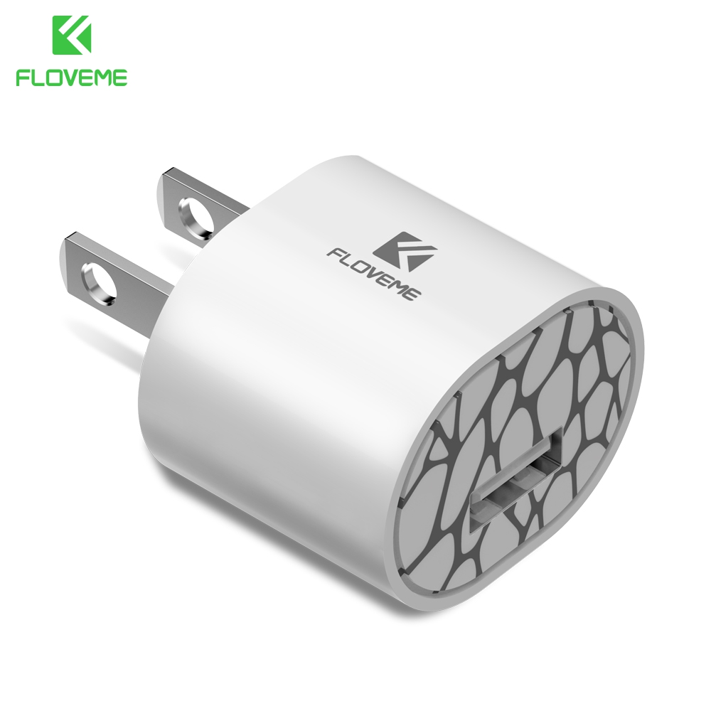FLOVEME White Phone 5V/1A Fast Charger For iPhone 8 X Samsung Huawei Charging Safe Reliable EU Plug
