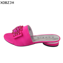 цены XOBZJH Women's Shoes 2019 Summer Fuchsia Flat Sandals Open Toe Ladies Buckle Shoes Slippers Mature Ladies Luxury Party Plus Size