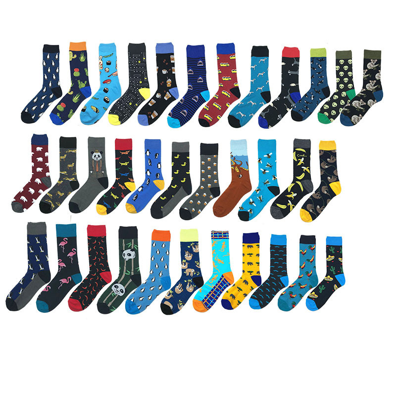 Men   Socks   Cartoon Flamingo Panda Koala Penguin Shark Banana Sushi Cactus Jacquard Happy Harajuku Hip Hop Cotton   Socks   Autumn
