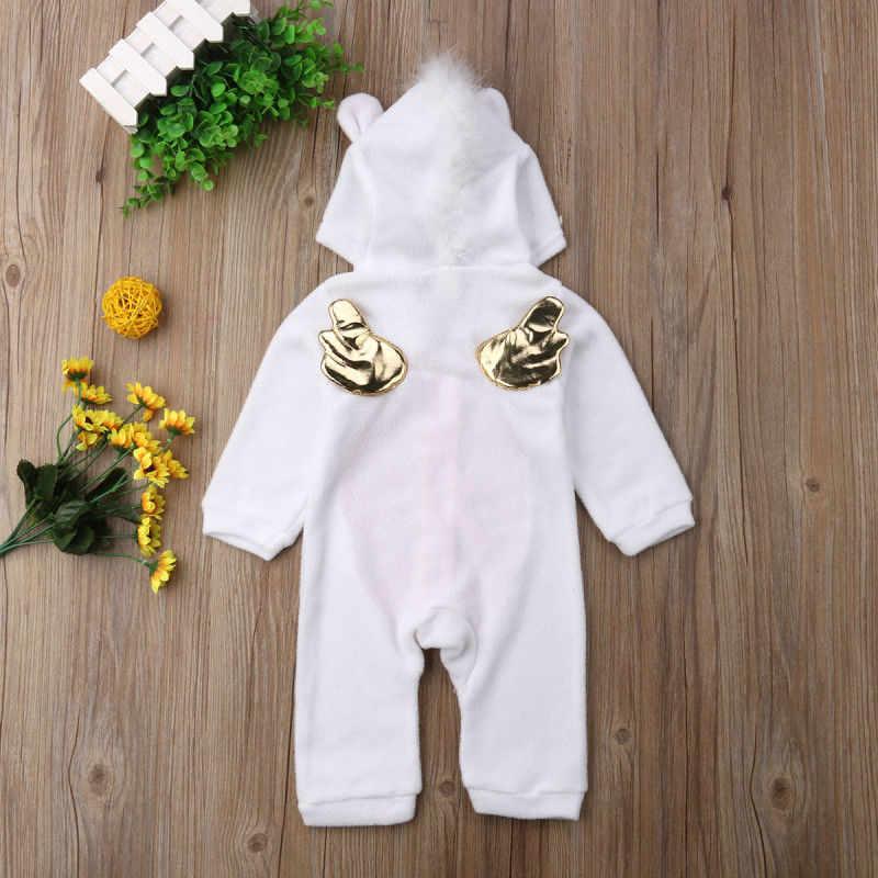 Balita Baru Lahir Bayi Unicorn Gadis Bulu Baju Monyet Jumpsuit Jumper Pakaian Kostum