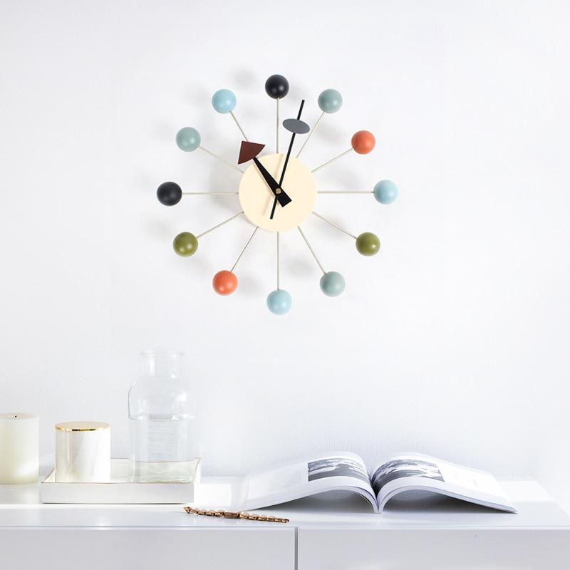 New Fashion Clock Popular Designer Beautiful Modern Luxury Home Decorative Diy Wooden Balls Wall Clocks Candy Clock Simple Clock-in Wall Clocks from Home & Garden    1
