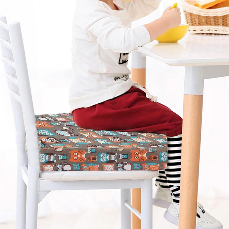 Children's Seat Cushion Dining Chair Increased Adjustable Detachable High Density Sponge Linen Cushion For Baby Kid Student