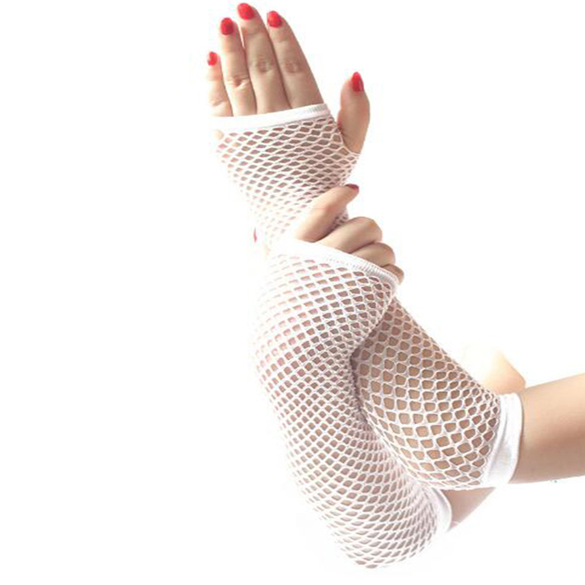 hot sale  summer Lady lace Mesh Fishnet Gloves Women Sexy Disco Dance Fingerless Gloves Women's Long Mittens Black Spring 4