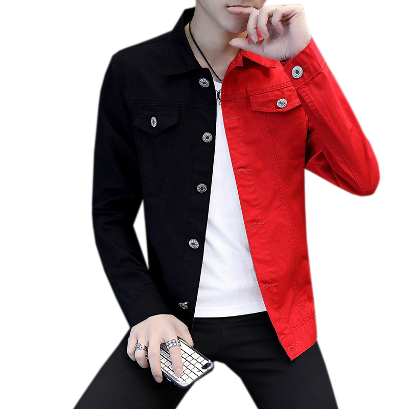 Casual Slim Denim Jacket For Men 2019 White And White Red Jeans Jacket Homme Letters Embroided Streetwear Denim Coat Man