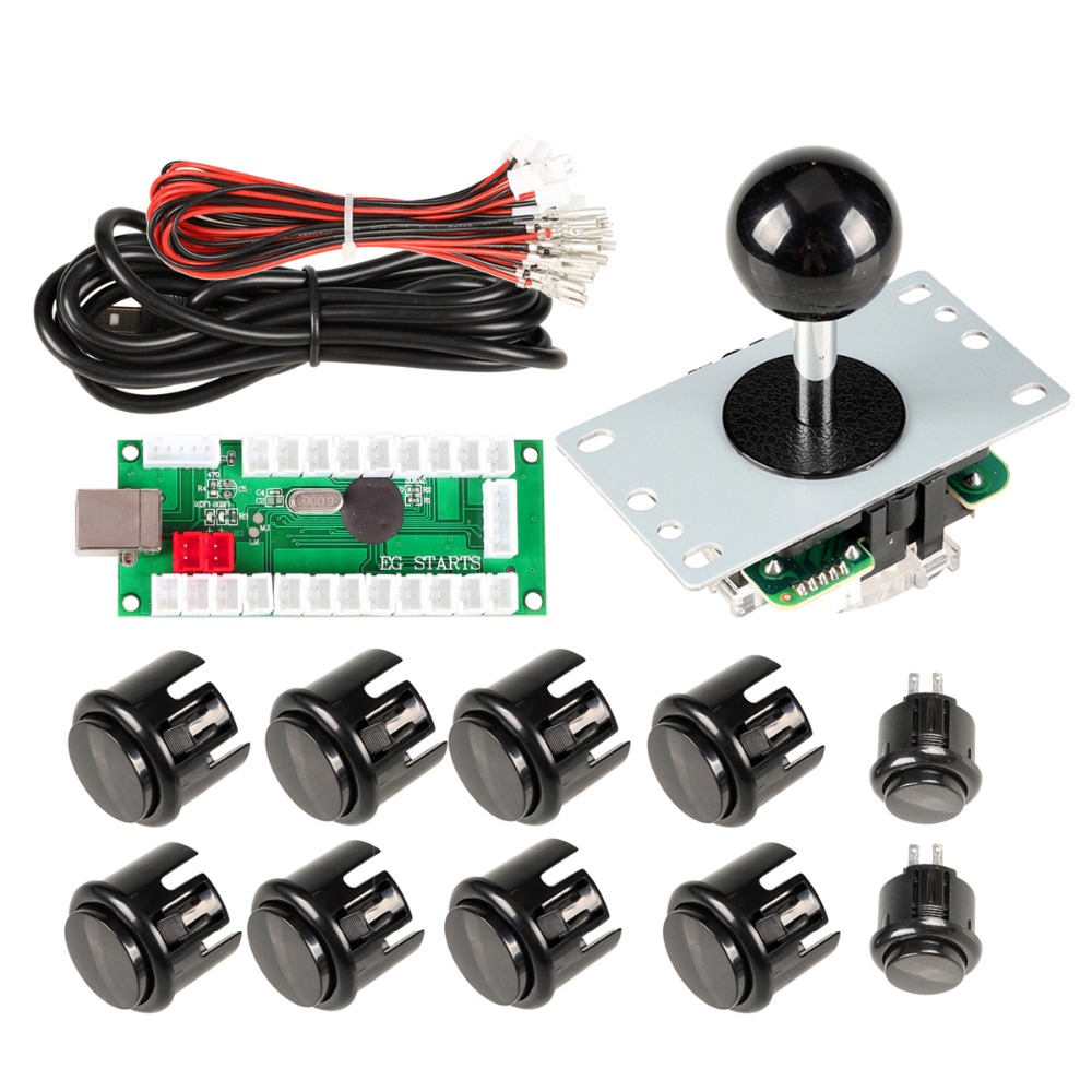 Nuevo Codificador USB Negro Para PC Joystick + 5Pin 8 Vías Rocker + 10 Botones Push Para Juegos De Arcade Mame Kits De Bricolaje A