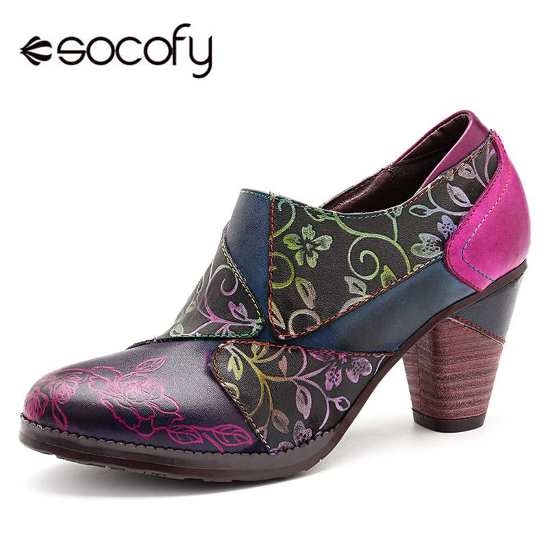 Socofy Retro Bohemian Pumps Women Shoes High Heel 7cm Black Heels Pumps Genuine Leather Splicing Ladies Shoes Woman Zapatos New