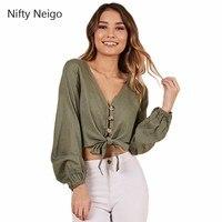 Nifty Neigo High Street Women Crop Blouse Button Lace Up V Neck Tops Summer Sexy Streetwear