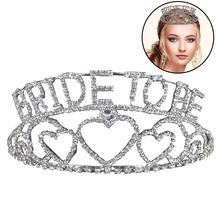 Bridal Jewelry Hand-Studded With Diamonds Wedding Letter Crown Korean Sweet Hair Hoop Accessories