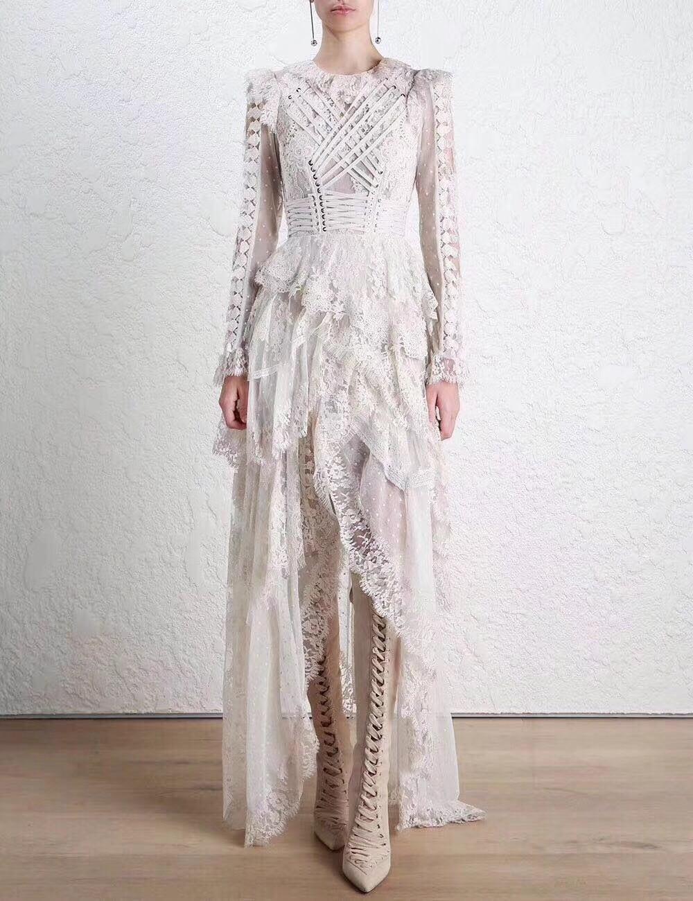 Новинка, осенне зимнее белое кружевное модное шикарвечерние праздничное платье с цветочным принтом - 3
