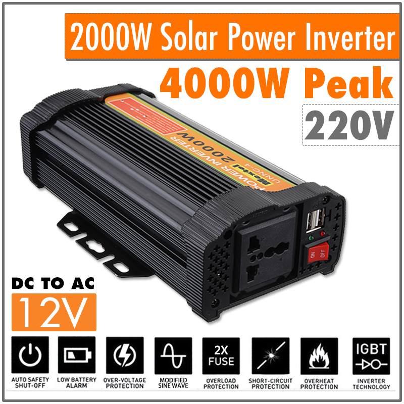 Dual USB Max 4000 Watts 2000W Power Inverter DC 12 V to AC 220 Volt Car Adapter Charge Converter Modified Sine Wave TransformerDual USB Max 4000 Watts 2000W Power Inverter DC 12 V to AC 220 Volt Car Adapter Charge Converter Modified Sine Wave Transformer