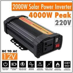 Podwójny USB Max 4000 watów 2000W przetwornica napięcia DC 12 V do AC 220 V zasilacz samochodowy konwerter ładowania zmodyfikowany transformator sinusoidalny